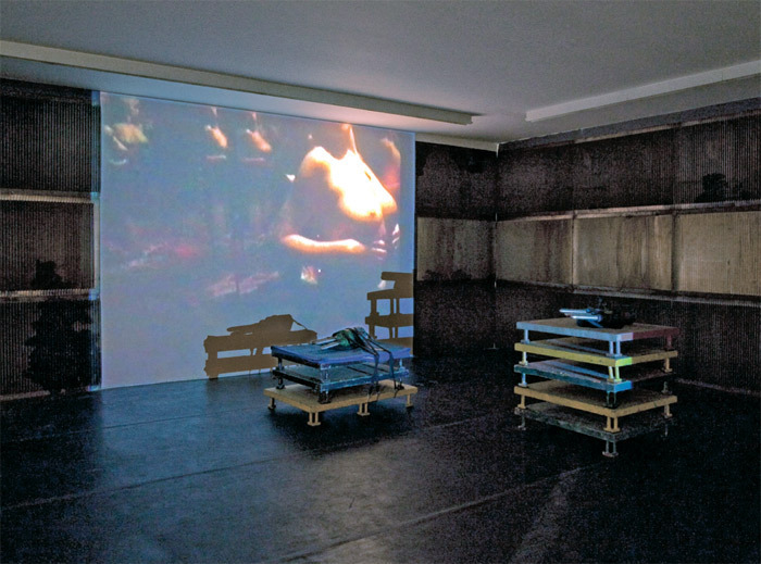 Miguel Rio Branco, untitled, 2012, video projection (color, sound, 3 minutes 52 seconds), vibrating machines, metal plates. Installation view.