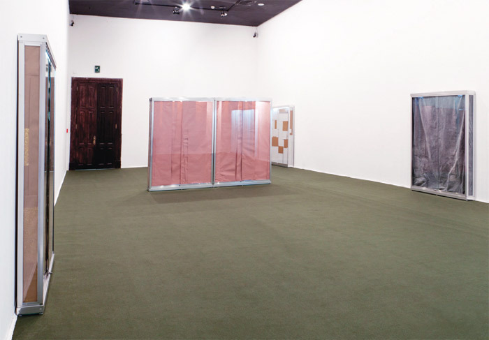 "View of ""Cinthia Marcelle,"" 2013. From left: Temporário, 2013; Temporário, 2013; Temporário, 2011; Temporário, 2013."