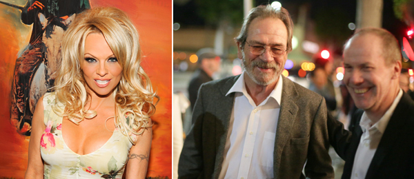 Left: Pamela Anderson. Right: Tommy Lee Jones and Richard Prince. (Photos: Billy Farrell Agency)