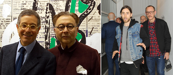 Left: LA MoCA director Jeffrey Deitch and Michael Chow. (Photo: Kate Sutton) Right: Jared Leto and Terry Richardson. (Photo: Billy Farrell Agency)