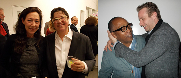 Left: Dealer Shaun Caley Regen with Catherine Opie. Right: Henry Taylor and dealer Joel Mesler. (Photos: Kate Sutton)
