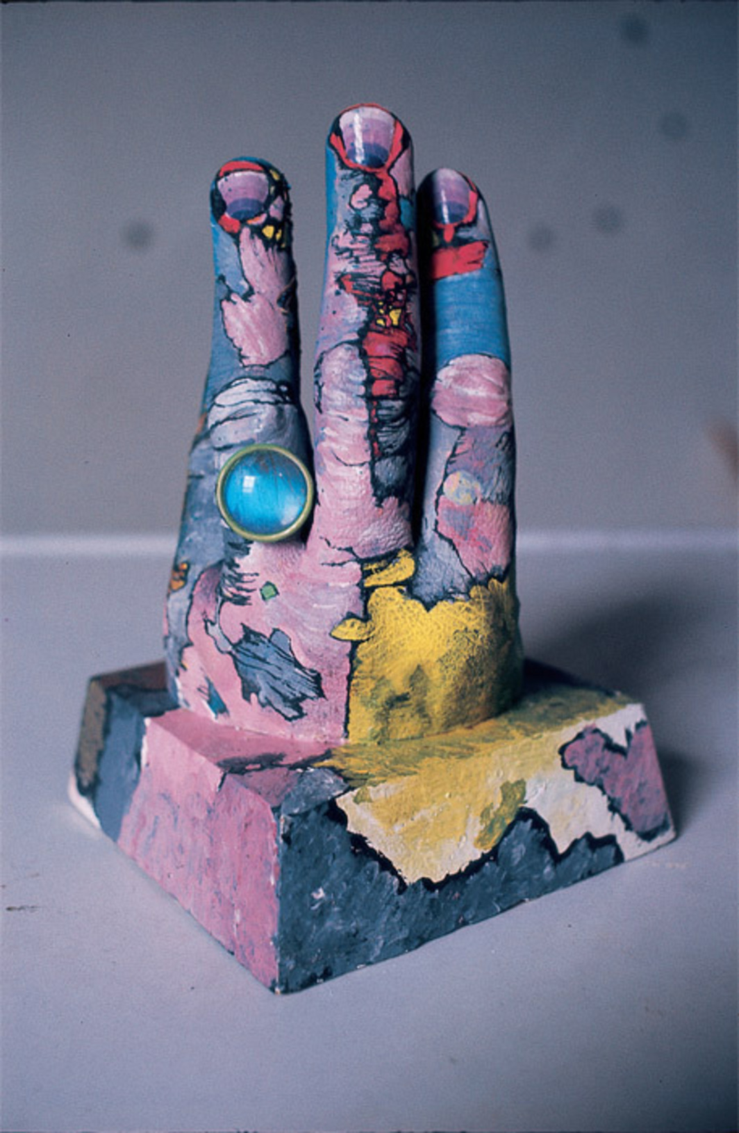 "Paul Thek, Untitled (Hand with Ring), 1967, wood, plaster, paint, metal, 7 1/4 x 4 1/2 x 4 1/2"". Photo: Peter Hujar, 1967."