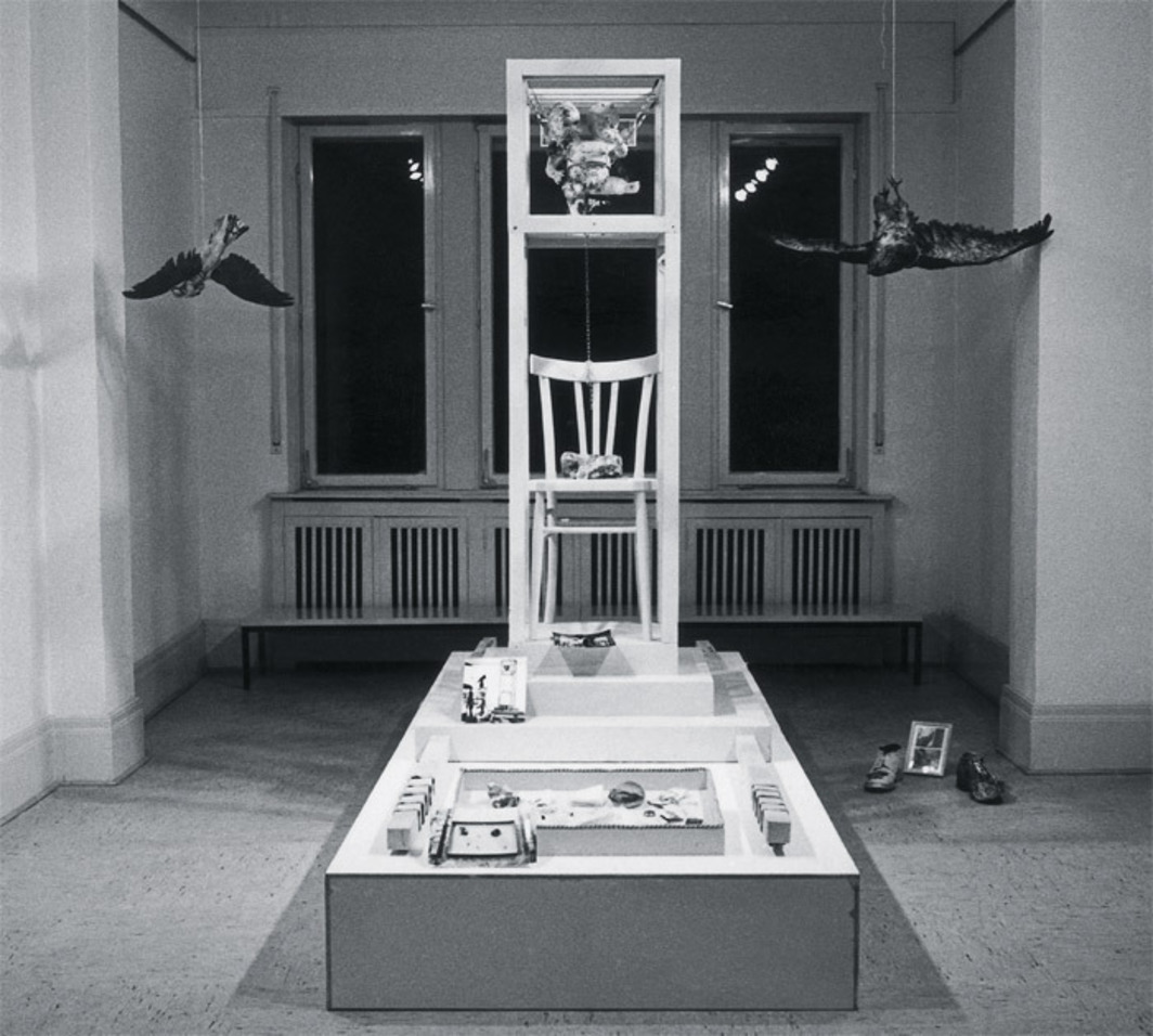 "View of ""Paul Thek: A Procession in Honor of Aesthetic Progress: Objects to Theoretically Wear, Carry, Pull or Wave,"" Galerie M. E. Thelen, Essen, West Germany, 1968."