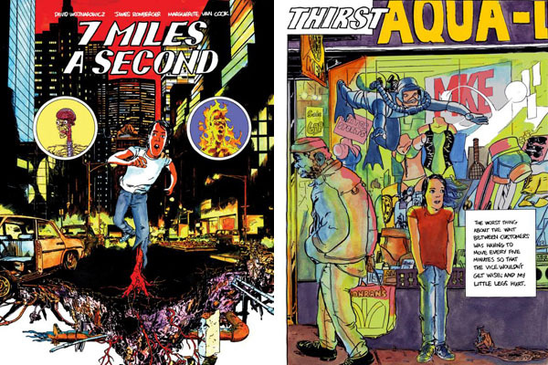 Left: Cover of David Wojnarowicz, James Romberger, and Marguerite Van Cook, 7 Miles a Second (1996). Right: Page six from the book.