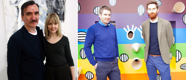Left: Independent cofounders Darren Flook and Elizabeth Dee. (Photo: Allese Thomson) Right: Dealers Toby Webster and Andrew Hamilton. (Photo: Irina Rozovsky)