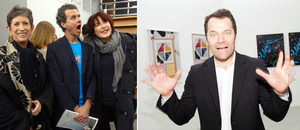 Left: Collector Beth Rudin DeWoody with artists Jon Kessler and Marilyn Minter. (Photo: Allese Thomson) Right: Dealer Andrew Kreps. (Photo: Irina Rozovsky)