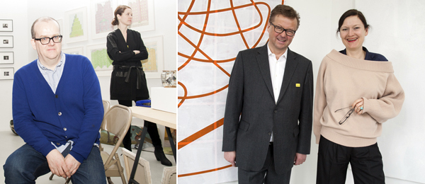Left: White Columns' Matthew Higgs and Amie Scally. Right: Dealers Christian Nagel and Saskia Draxler. (Photos: Irina Rozovsky)