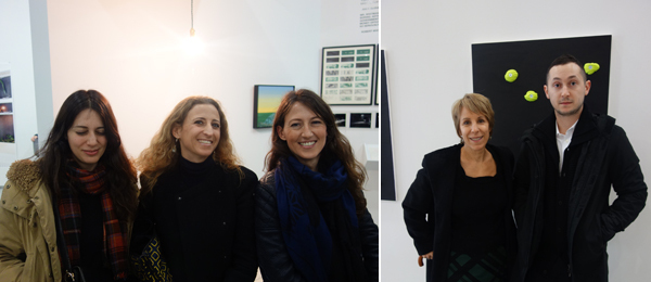 Left: Dealers Francesca Kaufmann (center) and Chiara Repetto (right). Right: MoCA North Miami director and chief curator Bonnie Clearwater with MoCA North Miami curator Alex Gartenfeld. (Photos: Frank Expósito)