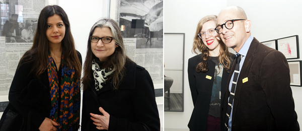 Left: SculptureCenter curator Ruba Katrib and SculptureCenter director Mary Ceruti. (Photo: Frank Expósito) Right: Artist Lia Lowenthal with dealer Richard Telles. (Photo: Irina Rozovsky)