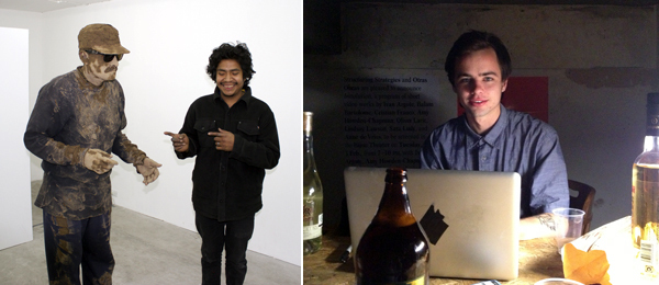 Left: Geraldo Guzman (left). (Photo: Keith Rocka Knittel) Right: Curator Michael Ray-Von. (Photo: Travis Diehl)