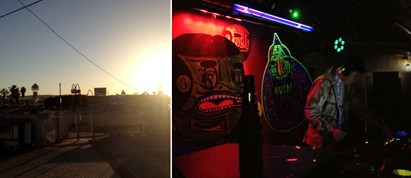 Left: At the US-Mexican border. Right: DJ Tony Gallardo at the afterparty at Bodega Aragón. (Photos: Travis Diehl)