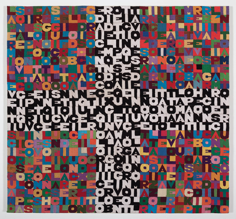 "Alighiero Boetti, OGGI VENTICINQUESIMO GIORNO OTTAVO MESE DELL ANNO MILLE NOVE 100 OTTANTOTTO ALL AMATO PANTHEON INCONTRI E SCONTRI (Today Twenty-Fifth Day Eighth Month of the Year One Thousand Nine Hundred Eighty-Eight at the Beloved Pantheon Encounters and Clashes), 1988, embroidery on fabric, 40 1/2 x 43 1/2""."