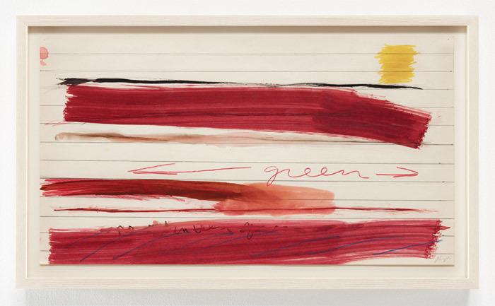 "Joan Snyder, Untitled, 1970, crayon, watercolor, and graphite on paper, 11 x 20""."