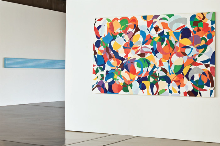 "View of ""Peter Young,"" 2013. Foreground: #1–1990. Background: #5–1996 (detail)."