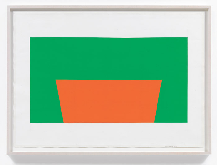 "Carmen Herrera, Untitled, 2012, acrylic and pencil on paper, 27 1/2 x 39 3/8""."