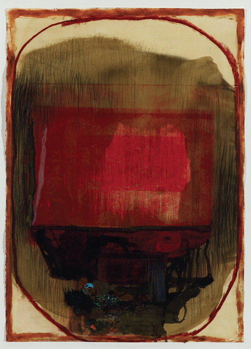 "Jorge Queiroz, Untitled, 2010, watercolor, engraving, pencil, and oil pastel on paper, 29 x 21 1/4""."