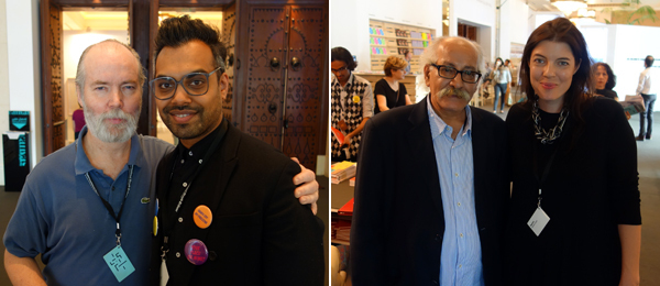 Left: Writer and artist Douglas Coupland with Shumon Basar. Right: Artist Hassan Sharif and Art Dubai director Antonia Carver.