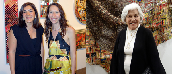 Left: The Third Line's Sunny Rahbar and Claudia Cellini. Right: Artist Monir Farmanfarmaian in front of a work by El Anatsui.