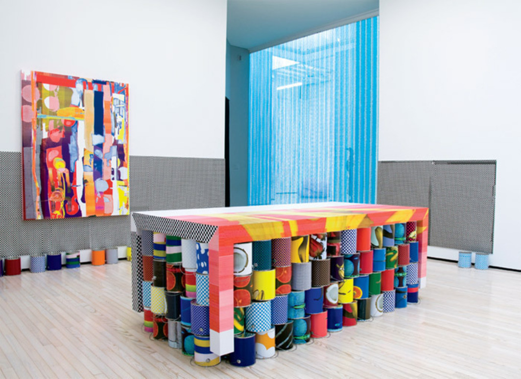 Guyton\Walker, Untitled, 2009, paint, Formica table, digital ink-jet print on drywall, digital ink-jet print on paint cans. Installation view, Baltimore Museum of Art, 2010. Photo: Mitro Hood.