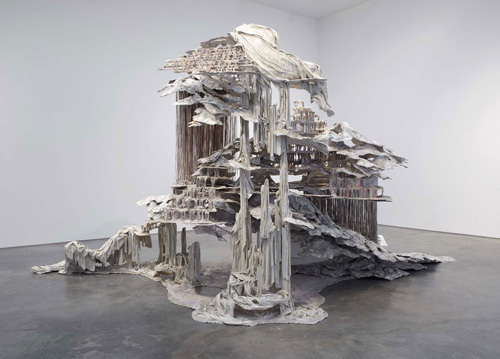 Diana Al-Hadid, Trace of a Fictional Third, 2011, polymer gypsum, wood, steel, fiberglass, aluminum foil, paint, 10 x 20 x 13'.