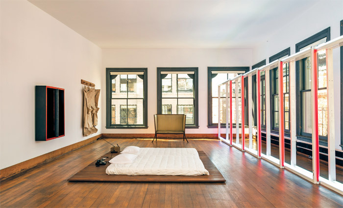 View of restored fifth floor, 101 Spring Street, New York, 2013. Photo: Josh White. Art: Donald Judd © Judd Foundation/VAGA, NYC; Dan Flavin © Stephen Flavin/ARS, New York; © Claes Oldenburg; © Lucas Samaras.