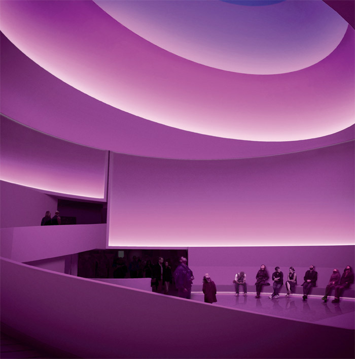 Digital rendering of James Turrell's Aten Reign, 2013, a site-specific installation for the Solomon R. Guggenheim Museum, New York. Renderings: Andreas Tjeldflaat.