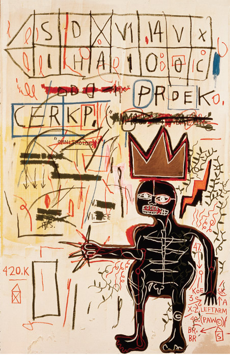 "Jean-Michel Basquiat, With Strings Two, 1983, acrylic and mixed media on canvas, 96 x 60""."