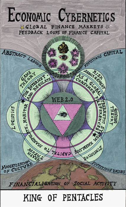 "Suzanne Treister, King of Pentacles—Economic Cybernetics (tarot), 2009–11, giclée print with watercolor on paper, 11 3/4 x 8 1/4""."