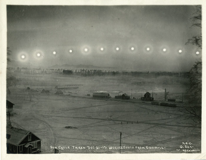 "H. G. Kaiser, Sun Cycle Taken Dec 21–17. Looking South from Gov. Hill, 1917, gelatin silver print, 5 3/4 x 7 1/2"". From ""The Unphotographable."""