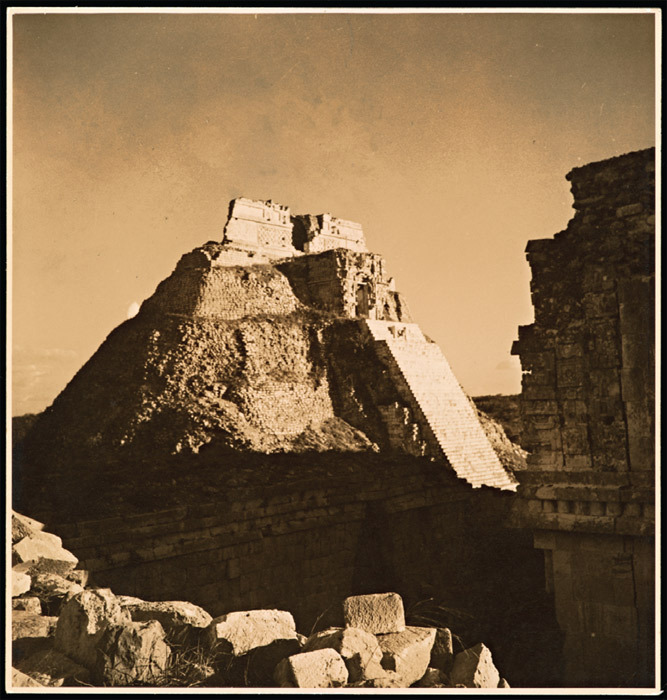 "Eva Sulzer, Pyramid of the Magicians, Uxmal, 1939, gelatin silver print, 8 1/8 x 7 3/4"". From ""Farewell to Surrealism: The Dyn Circle in Mexico."""