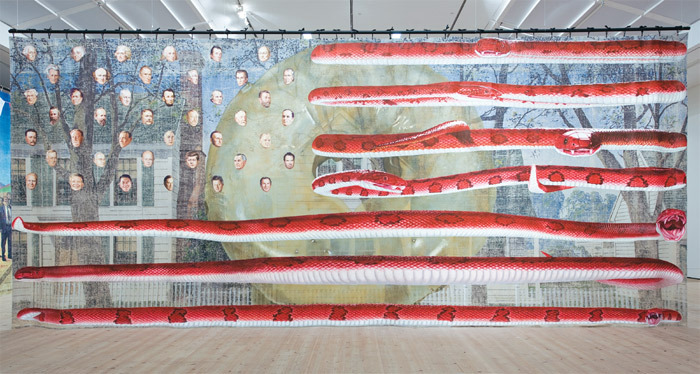 Jim Shaw, Untitled (U.S. Presidents), 2006, acrylic on muslin, 16 x 38'. BALTIC Centre for Contemporary Art, Gateshead, UK.