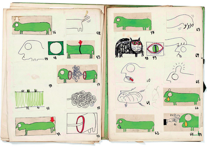"Pages from storyboard for Julian Józef Antoniszczak's Jak działa jamniczek (How a Sausage Dog Works), 1971, ink, tempera, and marker pen on paper, open 16 1/2 x 21 1/2""."