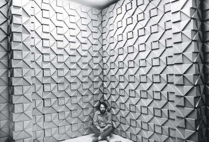 "Jef Raskin with an installation of his ""Bloxes,"" University of California, San Diego, 1969. From ""Everything Loose Will Land."" Photo: David Wing."
