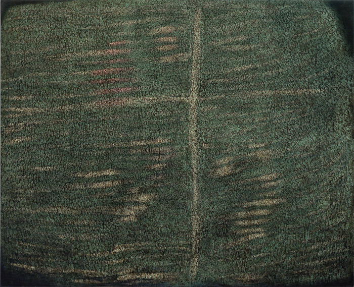 "Simon Hantaï, À Galla Placidia, 1958–59, oil on canvas, 10' 8 1/4"" x 13' 1 1/2"". © Artists Rights Society (ARS), New York/ADAGP, Paris/FLC."