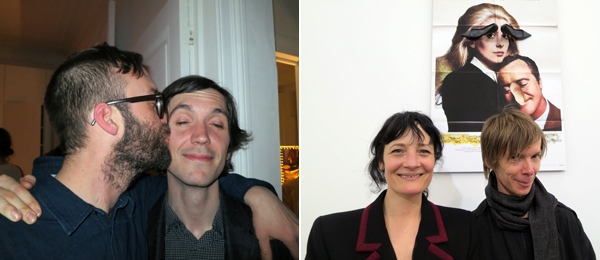 Left: Artist Zin Taylor and curator Chris Fitzpatrick. Right: Dealer Barbara Cuglietta and Kunsthalle Basel director Adam Szymczyk.