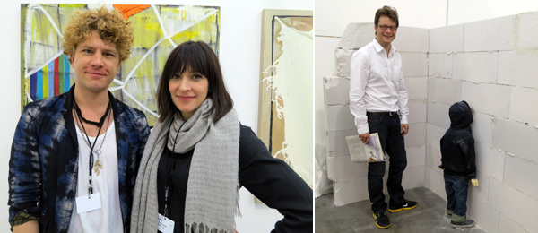 Left: Curator Tim Goossens and dealer Candice Madey. Right: Dealer Alexandre Daletchine.