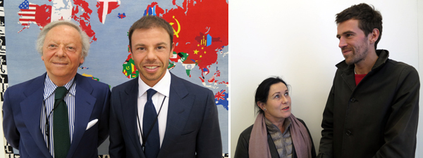 Left: Dealers Renato Cardi and Nicolò Cardi. Right: FIAC director Jennifer Flay and artist Harold Ancart.