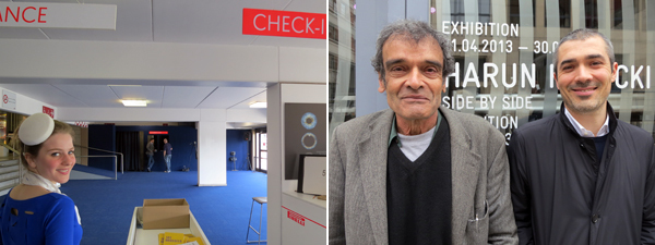 Left: Art Brussels check-in. Right: Artist Harun Farocki and curator Francesco Stocchi.