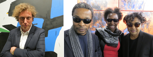 Left: Artist Koen van den Broek. Right: Critic Simon Njami, curator Elise Atangana, and artist Joël Andrianomearisoa.