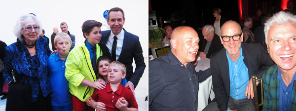 Left: Gloria Koons (left) with artist Jeff Koons (right) and four of his children. Right: Artists and musicians Brian Eno, Michael Stipe, and David Byrne. (All photo: Linda Yablonsky)