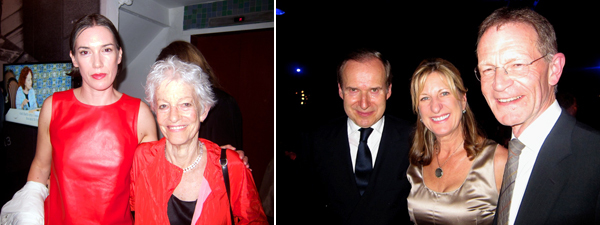Left: Artists Sarah Morris and Joan Jonas. Right: Auctioneer Simon de Pury, Tate Americas chair Jeanne Fisher, and Tate director Nicholas Serota.