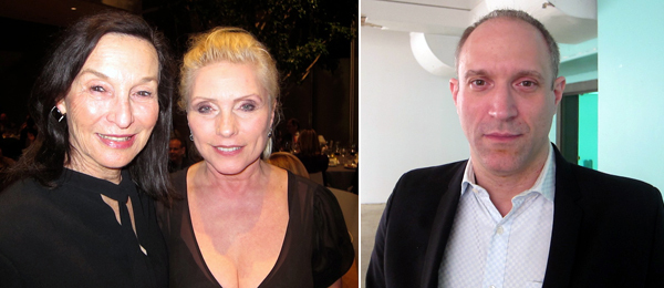 Left: Dealer Barbara Gladstone with Deborah Harry. Right: Writer and curator David Rimanelli.