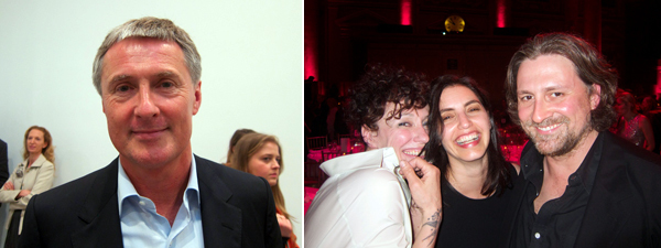 Left: Dealer David Zwirner. Right: Choreographer Sarah Michelson with curator Debra Singer and artist Wade Guyton.