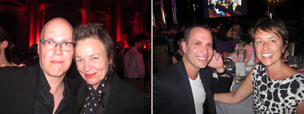 Left: The Kitchen director Tim Griffin and artist Laurie Anderson. Right: Artist Guillermo Calzadilla and Tate Modern curator Jessica Morgan.