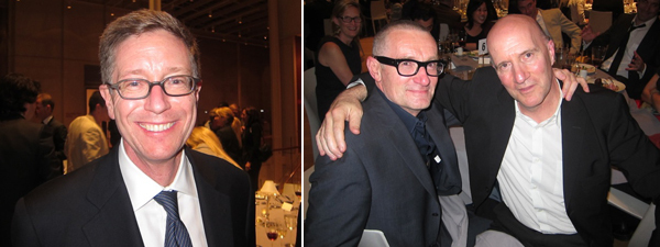 Left: Morgan Library director William Griswold. Right: Artist Thomas Hirshhorn and art historian Hal Foster.
