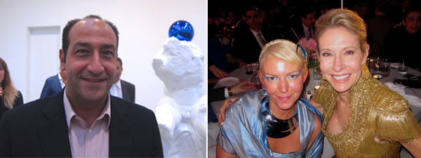 Left: Collector Alberto Mugrabi. Right: Collectors Christen Wilson and Cindy Rachofsky.