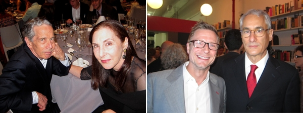 Left: Writer Calvin Tomkins and artist Laurie Simmons. Right: Architect Charles Renfro and collector Andy Stillpass.