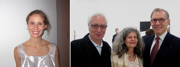 Left: Dealer Monica Manzutto. Right: Artist Terry Winters with curator Hendel Teicher and MFA Houston curator Gary Tinterow.