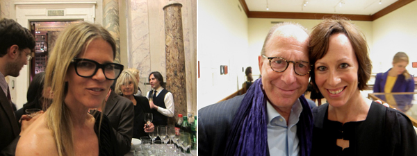 Left: Art Production Fund cofounder Yvonne Force Villareal. Right: Writers Jerry Saltz and Andrea Scott.