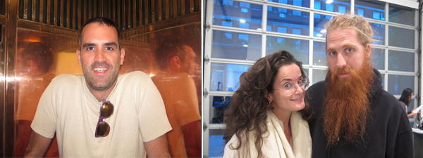 Left: Artist Jim Drain. Right: Dealer Lucy Chadwick and hairstylist Duffy.
